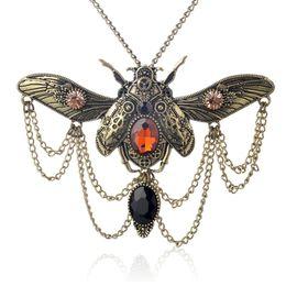 Wholesale Ancient Heart - Fashion Vintage Beetle Pendant Choker Necklace Ancient Bronze 3 Colors Option Steam Punk Style Rhinestone Beetle Necklace