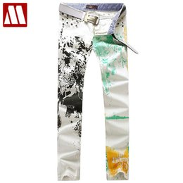 Wholesale Best Softener - Wholesale-Men's printed slim straight jeans, Latest design fashion leisure Cotton jeans, Best selling scrawl White jeans for Men Size28-36