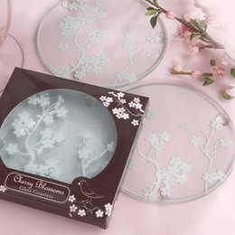 Wholesale fashion coasters - Cherry Blossom Glass Cushion Clear Round Tablemat Cup Coaster Wedding Gifts Party Favor For Guest Fashion 1 2ab F R