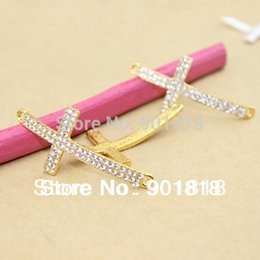 Wholesale Diy Gold Rhinestone Connector - Wholesale- 5pcs bag Alloy Connector Clear Rhinestone Cross Charms Pendant Fit Handcraft DIY 23*47mm F474