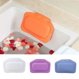 Wholesale Bathtub Tub - Bathtub Waterproof Spa Soft Bath Pillow Headrest With Suction Cup Tub Pillow Bathroom Products 4 Colors 21x31cm