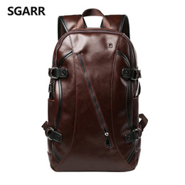 Wholesale Horse School Bags - Wholesale- Casual Crazy Horse PU Leather Men's Backpack College School Bags 14 inch Laptop Bag Large Capacity Travel Bag For Busniess