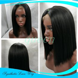 Wholesale Auburn Bob Wig - Cheap Sale Brazilian Straight Short Bob Wig Black Glueless Synthetic Lace Front Wig None Lace Wig Heat Resistant For Black Women