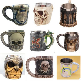 Wholesale skull knight - Creative 3D Skull Wolf Mug Funny Coffee Cups Cool Resin Stainless Steel Pirate Knight Drinking Grip Drinkware CCA6300 48pcs