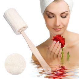 Wholesale Spa Bath Cleaning - Wholesale- 1 piece Exfoliating Body Bath Shower Natural Loofah Bath Brush With Long Handle Wood Body Shower Bath Spa Scrubber banheiro