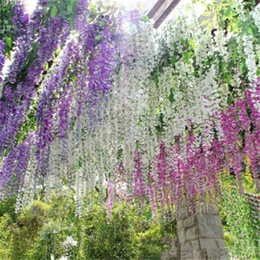Wholesale Flower House Accessories - Romantic Artificial Flowers Simulation Wisteria Vine Wedding Decorations Long Short Silk Plant Bouquet Room Office Garden Bridal Accessories
