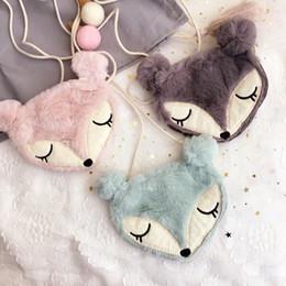 Wholesale Wholesale Art Bags - Kids purses New Cartoon Girls messenger bags Cute Fox Children Shoulder Bags cloth art mini Handbags Fashion Girl Change Purse C2194
