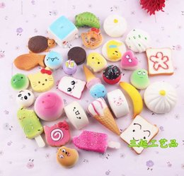 Wholesale Soft Toys Keychain - In Stock!!! 10pcs set Mobile Phone Straps Squishy Cute Soft Panda Bread Donut Phone Keychain for Phone Decor