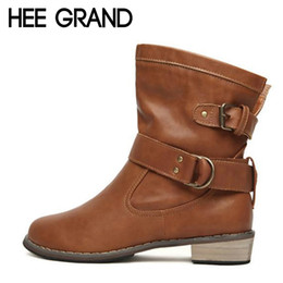Wholesale High Platfrom - Wholesale- HEE GRAND 2016 Women Boots Fashion Artificial Leather Shoes Woman Motorcycle Ankle Boots Winter Vintage Platfrom Flats XWX218
