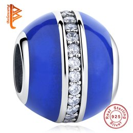 Wholesale Sterling Spacer Beads - BELAWANG Authentic 925 Sterling Silver Blue Enamel Spacer CZ Charm Beads Fit Charm Bracelet Original Silver Jewelry for women Family Gift