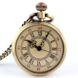 Wholesale Retro Steampunk Watch - Wholesale-Retro Bronze Pocket Watch Men Women one-way Antique Steampunk Pendant Pocket Watch quartz pendant watches Free Shipping AN995