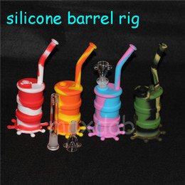 Wholesale Glow Glasses Wholesale - New Arrival Mini silicone dab rig Glow In Dark Silicone Water Pipe glass bongs glass water pipe silicone barrel rig free shipping