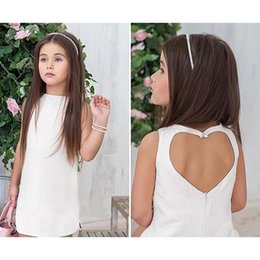 Wholesale Backless Heart - Children princess dress 2017 summer new Grils love heart backless vest dress fashion kids solid lace jacquard party dress T0850