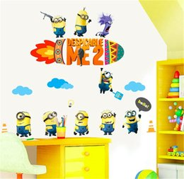 Wholesale Minions Stickers - Minions Music Band Cartoon Wallpaper 3D Vintage Vinyl Wall Sticker Home Decor For Kids Rooms Papel adesivo para parede