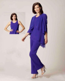 Wholesale Dresses Bride Special - Elgant Mother Of The Bride Dress Pant Suits With Jacket Three Quarter Sleeves Chiffon Formal Dress New Mother of the Bride Dresses