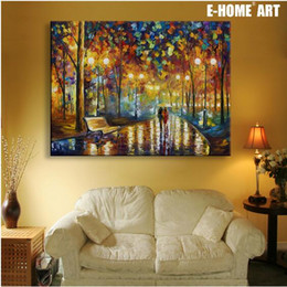 Wholesale Painting Thick - Free Shipping Wall Art Street Lights LED Canvas Spray Painting Light Up Framed Artwork Decoration Bedroom   Living Room