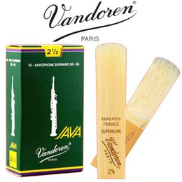 Wholesale Soprano Saxophone Reeds - Wholesale- Brand New Original France Vandoren Java Soprano Saxophone Reeds Green Box Traditional Saxophone Reeds Strength 2.5 3 3.5 Box 10