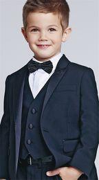 Wholesale Suit Jacket Images - Three Piece Kids Wedding Suits New Arrival Peaked Lapel Custom Made Boys Formal Wear (Jacket + Pants + Vest)