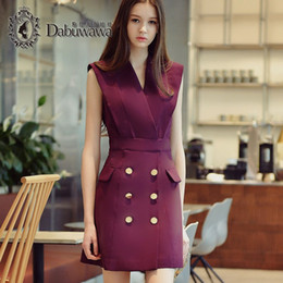 Wholesale Office Formals For Women - Dabuwawa V Neck A Line Dress Summer Elegant Formal Office Dresses For Women Vintage Dresses Night Out Club