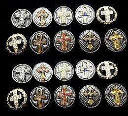 2019 ganchos de botão antigo Atacado 10 Unidades / pacote intercambiáveis 18mm Cross Rhinestone do vintage retro botões encantos se encaixa diy snaps jóias marca new