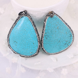 Wholesale Turquoise Blue Gemstone - 5PCS Crystal Rhinestone Blue Howlite Turquoise Pendant Gemstone Charms For Necklace Making Jewelry