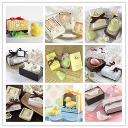 Wholesale Wholesale Baby Soap - 20pcs lot handmade soap for wedding scented soap mini baby shower soap with gift package free shipping