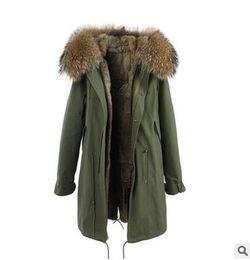 Wholesale Detachable Raccoon Collar - JAZZEVAR Brown fur trim rabbit fur Long army green parkas winter snow coats real fur winter parkas