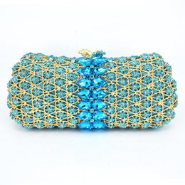 Wholesale Diamond Encrusted - Wholesale- Latest Luxury Crystal Rhinestone Women Golden Aquamarine Evening Bag Crystal Encrusted Bags Party Handbags Clutch Purse sc496