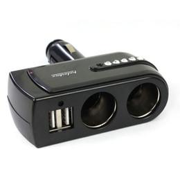 Wholesale double socket car charger - Wholesale- Cls New 2 USB Charger Supply + Double Sockets Car Cigarette Lighter Extender Splitter Combo Function Jun16