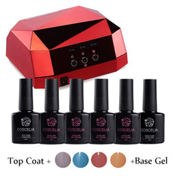 Wholesale Lamp For Gel Nails Kit - Wholesale- 4x10Ml Kit Nail Gel Manicure Set Gel Nail Polish Set With LED Lamp Nail Dryer Lamp For Nails Diamond Shape