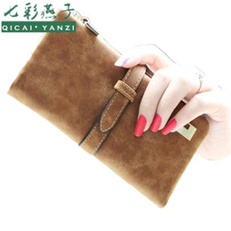 Wholesale Drawstring Coin Purse - Wholesale- 2017 6Colors Fashion Lady Bags Women Wallets PU Drawstring Nubuck Leather Zipper Purse Card Holder Long Wallet 2 fold ClutchJ417