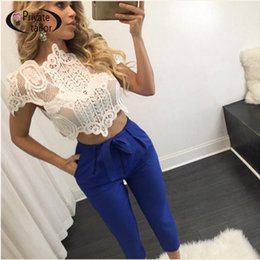 Wholesale Sexy Girls Tee - Wholesale-Fancy Embroidery White Lace Women t shirt Sexy Transparent short sleeve slim fitted crop top summer girls sexy tees plus size