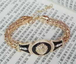 Wholesale Mexican Paint - 2017 big snake bone bracelet bracelet men's hip hop lion head drill alloy oil painting female Bracelet aa207