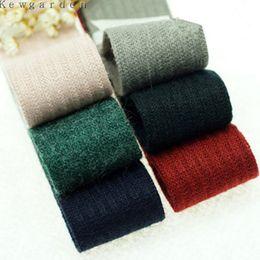Wholesale Satin Ribbon Tape - kewgarden 40 mm 4cm Winter Stiffened Woolen Ribbons Handmade Tape Colored Elastic Riband DIY Bow Satin Ribbon 5y lot