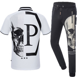 Wholesale Black Silk Trousers - Free postage autumn and winter new tide brand men with the same paragraph PP skulls hot drill sweater men Slim pants trousers suit