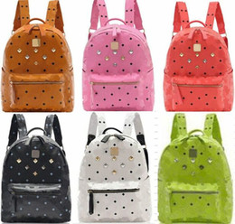 Wholesale Diamond Shaped Button - 2017 New Arrival Brand Fashion School Bags Hot Punk Style Men Women Backpack Rivet Crown Student Backpack PU Leather Lady Shoulder Bag Bags