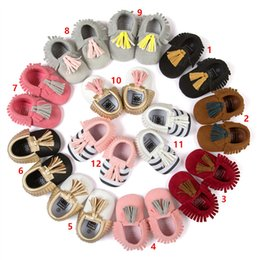 Wholesale Stripe Bow Shoes - Spring Autumn 16 Color Baby stripe paillette moccasins soft sole PU leather first walker shoes children newborn Tassels maccasions bow shoes
