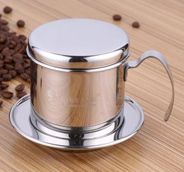 Wholesale Tea Strainer Cup Wholesale - Vietnam Style Coffee Mug Cup Jug Stainless Steel Metal Vietnamese Coffee Drip Cup Filter Maker Strainer Cool Perfect