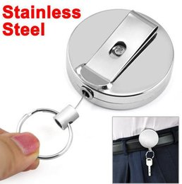 Wholesale classic tin car - 4cm Full Metal Easy Buckle Key Chain High Resilient Telescopic Wire Rope Key Ring Anti-theft Telescopic Key Ring