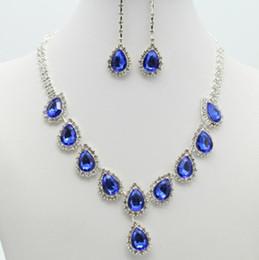 Gran cristal colgante de gota de agua collar de la boda nupcial de la joyería conjunto de plata Rhinetone collar de cadena de collar de la oreja de la dama de honor de la joyería desde fabricantes