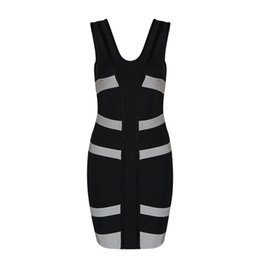 Wholesale Summer Dresses Sexy Body - 2017 summer new women mini dress body v neckline sexy v striped black dress celebrity party bandage dress high quality wholesale