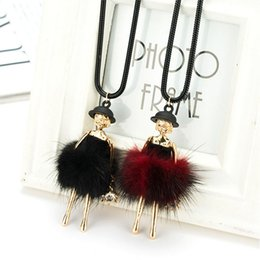 Wholesale Girls Chain Skirts - Wholesale-New doll Pendant Necklace Jewelry Girl Female Charm Jewelry Pure Handmade Skirt Dress girl