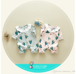 Wholesale Diamonds Romper - IN stock high quality cotton new arrivals autumn baby kids climbing romper long sleeve Diamond pattern girl kids romper kid clothing