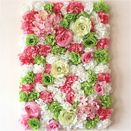 Wholesale Wall Decoration Red - 60x40 cm Artificial flower wall background Wedding props supplies Wall decoration Arches silk flower Rose peony Window studio