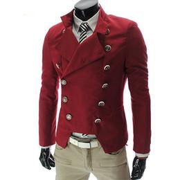 Wholesale Vintage Slim Fit Blazers Men - Wholesale- Red Black White Hombre Blazer Men Double Breasted Slim Fit Vintage Mens Blazers Jacket Youth Long Sleeve Stand Collar Brand Coat