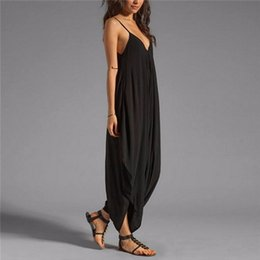 Wholesale Sexy Open Legs - Wholesale- 2017 Summer Deep V-neck Loose Baggy New Fashion Sexy Women Fit Beach Party Jumpsuit Open Back Sleeveless Irregular Baggy Legs