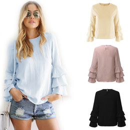 Wholesale Black Ruffle Blouse Xl - Hot Sale! 2017 New Summer Women Lady O Neck Flare Sleeve Long Sleeve Tops Blouses Casual Tee-Shirts 4 Colors