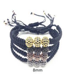 Wholesale Braided Bead Cord Bracelet - New Arrivel 8mm Beads Cool Bracelet Men women Braided Nylon Cord Macrame Hand-woven Bracelets Men's Jewelry