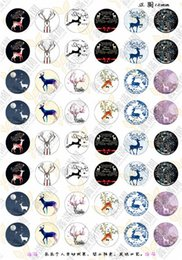 Wholesale Cartoon Jewelry Images - BoYuTe (48 pieces lot) 12mm Round Cabochons Mix Deer Cartoon Cat Sign Image Transparent Glass Cabochon Jewelry Findings xl3242