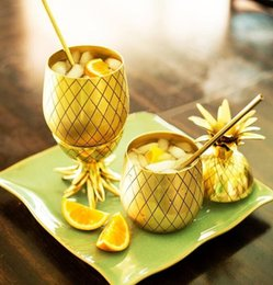 Wholesale Tumblers Drink - 750ml Moscow Pineapple Tumbler Mug Cocktail Drinking Cups Mugs Bar Tool Stainless steel Drink For Wine Cocktail Glass KKA1851